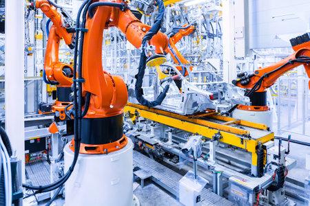 robotic arms in a car plant Archivio Fotografico