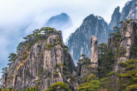 view from Refreshing terrace in Huangshan mountain (Yellow mountain), known as the loveliest mountain of China