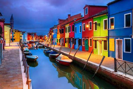Colourful evening houses on Burano island, Venice