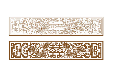 Chinese traditional furniture decoration with auspicious patterns