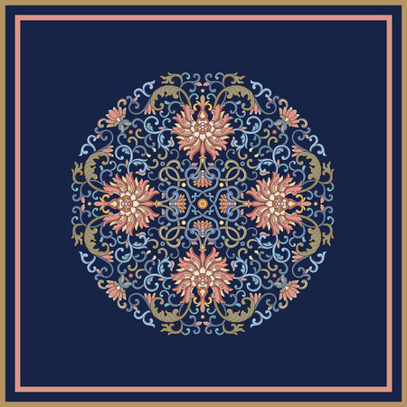 Round vintage   pattern on blue background