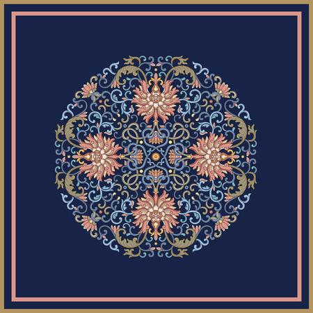 Round vintage   pattern on blue background