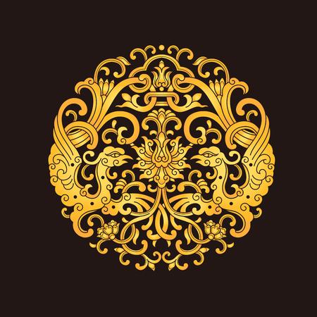 Chinese traditional phoenix pattern 일러스트
