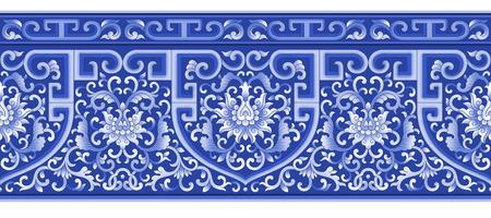 Blue vintage floral pattern background