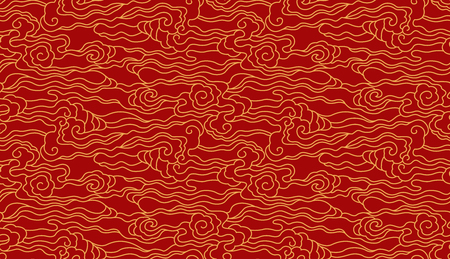 Traditional line cloud pattern Stock Illustratie