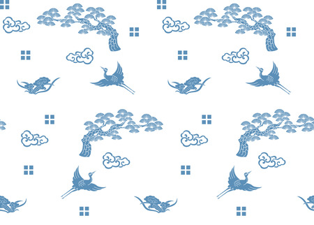 Seamless crane and pine tree auspicious traditional pattern against white background