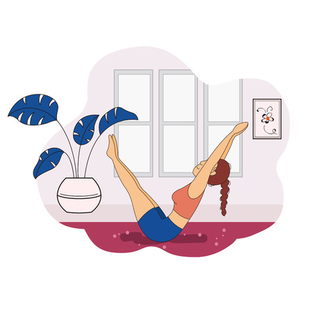 Illustration of young woman practicing yoga moves indoors Çizim