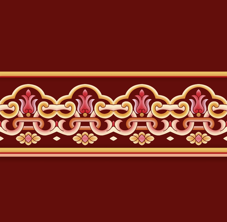 Traditional wishful classical lace pattern on dark red background