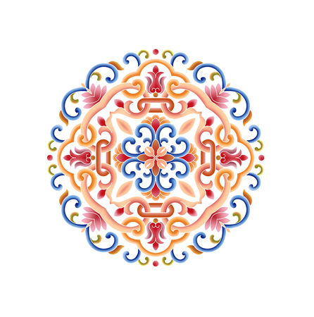 Colorful round classical pattern against white background