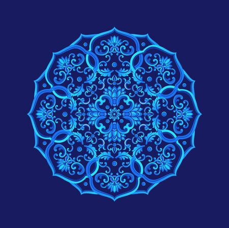 Circle pattern consisting of traditional patterns, blue background
