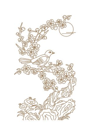 A magpie standing on a plum branch, Chinese traditional line pattern