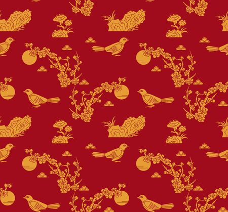 plum blossom and magpie on red background, seamless pattern