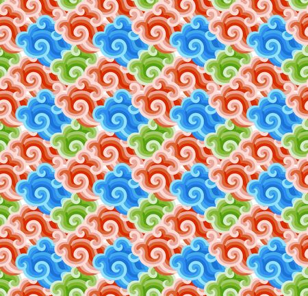 Seamless continuous background pattern of clouds of different colors stacked together