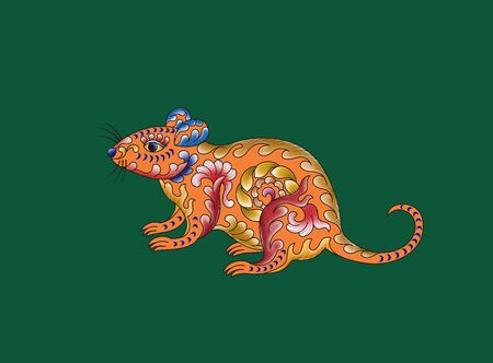 a colorfully colored pattern mouse in a green background 스톡 콘텐츠