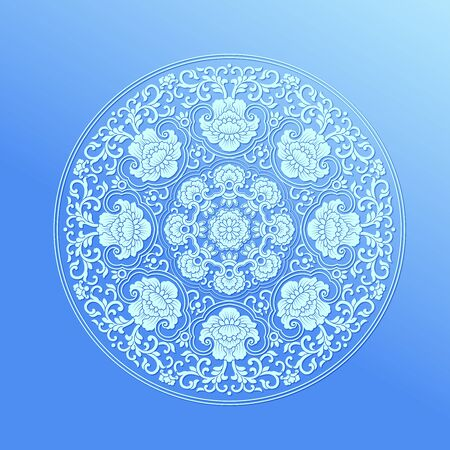 Traditional round peony flower pattern pattern, gradient blue background