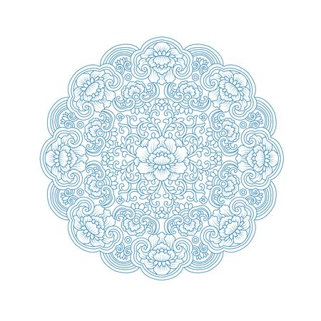 Chinese traditional blue blue and white pattern pattern, circular pattern Иллюстрация