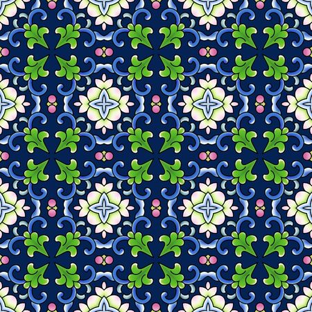 Seamless continuous blue floral pattern background wallpaper pattern