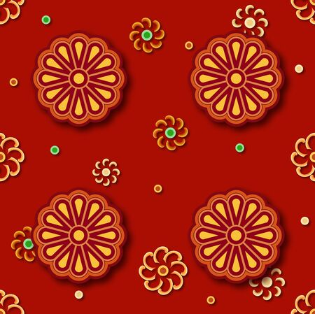 Red floral pattern seamless continuous shading pattern