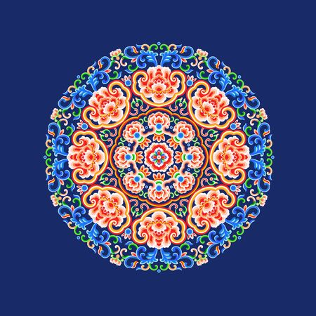 Vivid blue traditional pattern 向量圖像