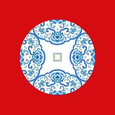 Blue circular pattern on red background Ilustração