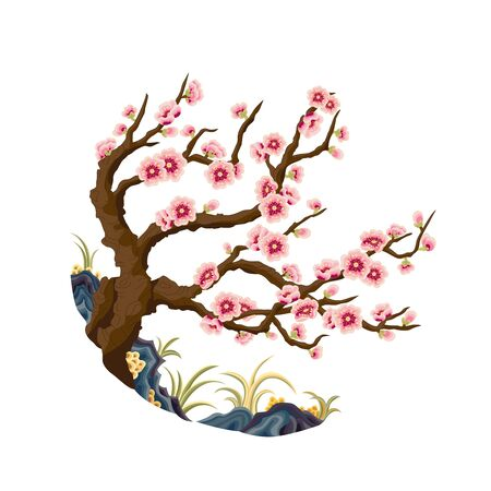 Colorful plum traditional plant pattern 向量圖像