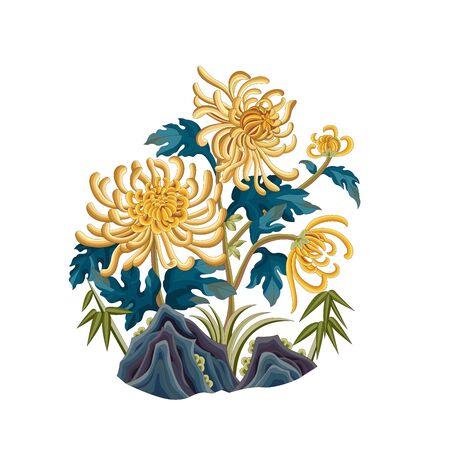 Color chrysanthemum traditional plant pattern 向量圖像