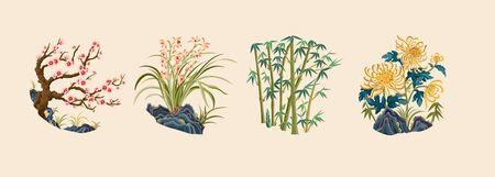 Meilan bamboo chrysanthemum traditional plant pattern