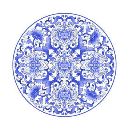 Blue vintage decorative floral pattern