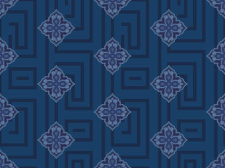 Continuous blue traditional shading pattern