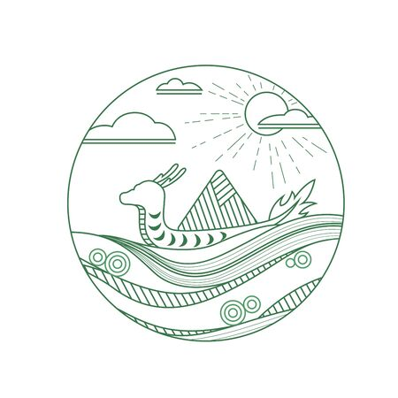 Traditional dragon boat festival element line pattern