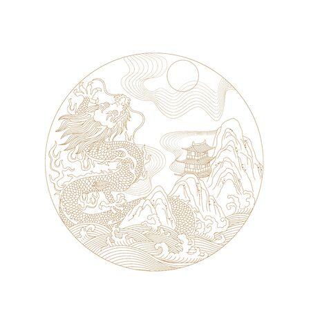 Traditional dragon pattern 向量圖像