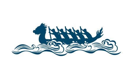 Dragon boat race abstract silhouette pattern