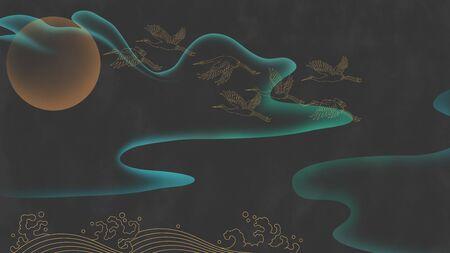 Abstract landscape crane pattern