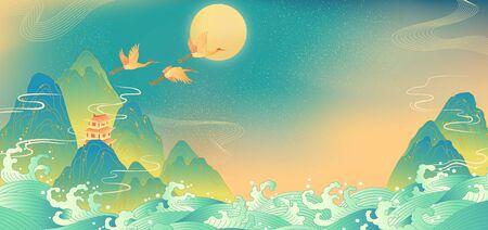 Chinese mountain landscape illustration 版權商用圖片