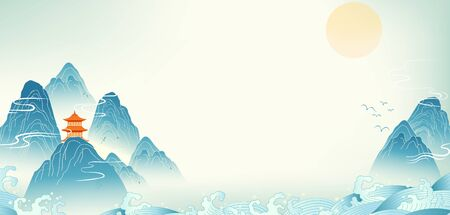 Chinese style landscape illustration