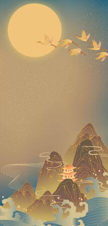 National tide landscape crane illustration 版權商用圖片