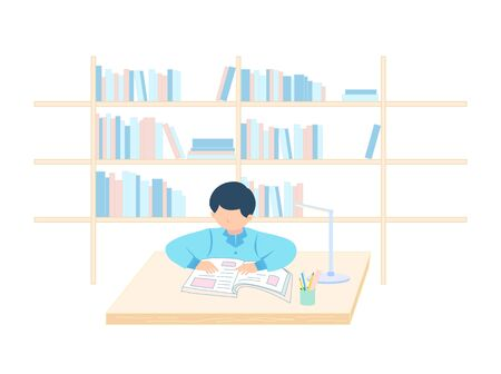 In front of the bookshelf background, a boy sits and looks at the books on the desk
