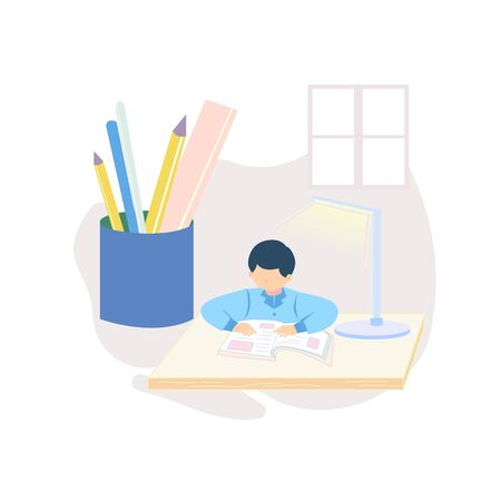 A boy sitting and reading a book illustration on the desk 版權商用圖片