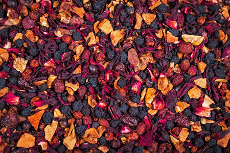 fruity: fruity and berry loose tea dry background texture