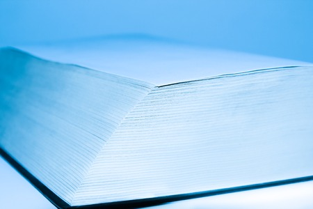 testaments: Blue big open book for education background Stock Photo