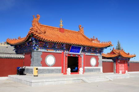 palatial: Under the blue sky temple Stock Photo