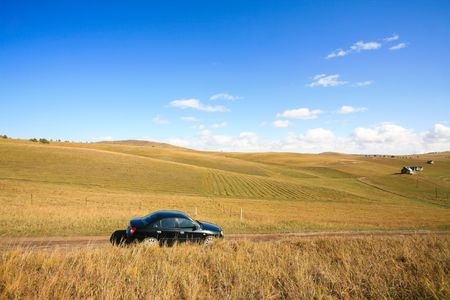 processing speed: A car traveling in the steppe on the way
