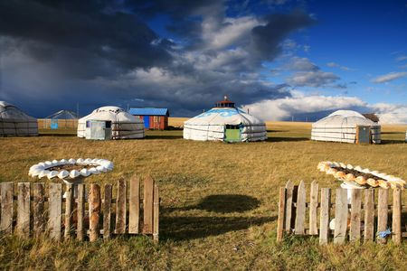dwelling: Yurt - Nomads tent is the national dwelling of Kazakhstan and Kirghizstan peoples  Stock Photo