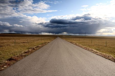 road in middle of rural area to evening  Stock Photo - 6129077
