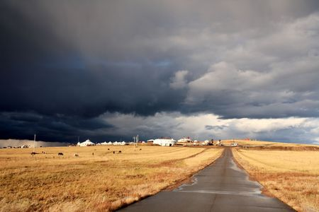 road in middle of rural area to evening Stock Photo - 6129072