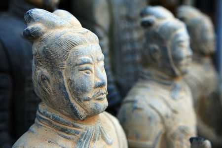replica of a terracotta warrior sculpture found in Xian, China
