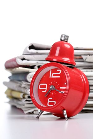 clock and newspaper Stock Photo - 6143526