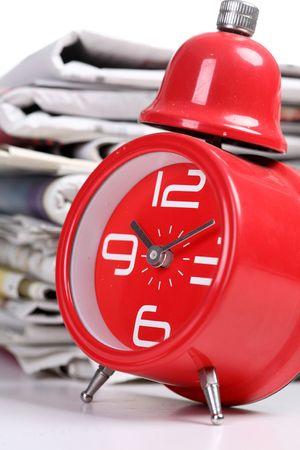 clock and newspaper Stock Photo - 6143528