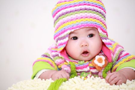 asian baby: close up of cute asia baby
