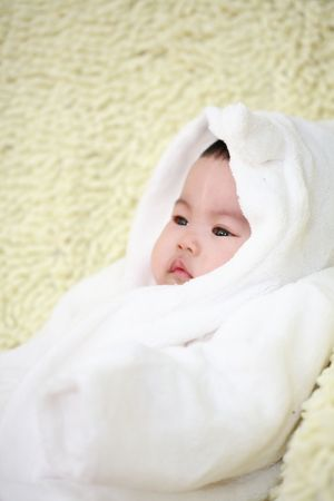 close up of cute asia baby  photo